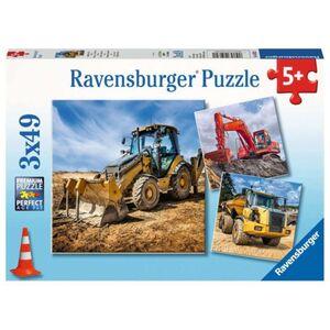 Puzzle-Box - Baufahrzeuge im Einsatz - 3x 49 Teile