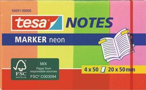 TESA Haftnotiz 56691-00000-01 20mm x 50mm Orange, Gelb, Grün, Pink 200 Blatt