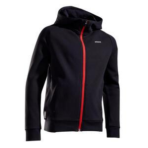 Trainingsjacke warm Tennis Kinder schwarz