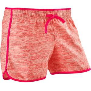 Shorts W500 atmungsaktiv Mädchen rosa mit Print