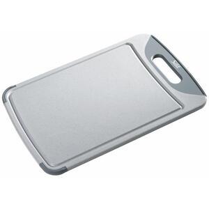 Silit Schneidebrett kunststoff , 2142235347 , Grau , 25x1.5x38 cm , antibakteriell, Saftrille, Griff , 0037310999