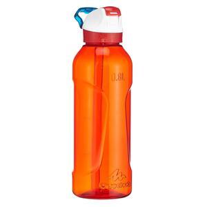Trinkflasche Wandern 900 Schnellverschluss mit Trinkhalm 0,8Liter Tritan rot