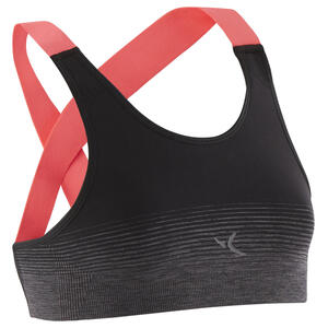 Sport-Bustier atmungsaktiv und funktional S900 Gym Mädchen schwarz/rosa Träger