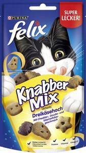 Felix Knabber Mix Leckerlis Dreikäsehoch mit Cheddar-, Gouda- und Edamerkäsegeschmack 60G