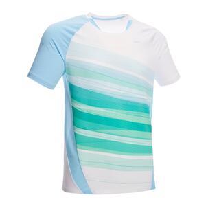 T-Shirt 560 Badminton Herren weiss/türkis