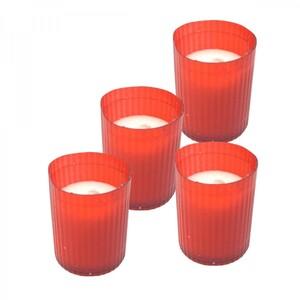 Grablicht Kerze Nachfüller Set 4x50g Kunststoff rot
