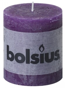 Bolsius Rustik Stumpenkerze ,  lila, Höhe 8 cm, Ø 6,8 cm