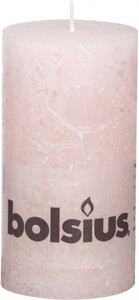 Bolsius Rustik Stumpenkerze ,  pastellpink, Höhe 13 cm, Ø 6,8 cm