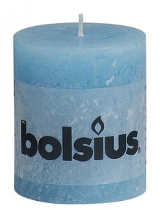 Bolsius Rustik Stumpenkerze ,  aqua, Höhe 8 cm, Ø 6,8 cm