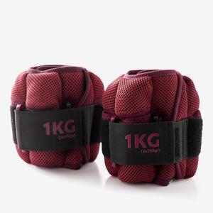 Gewichtsmanschetten veränderbar Fitness 1kg bordeauxrot