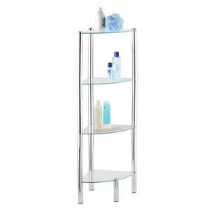 Wenko Badezimmerregal metall, glas chromfarben , Wenko 'yago' _ 30x104x30 cm , glänzend , 004332025504