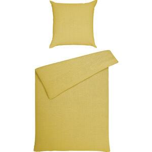 Janine Bettwäsche seersucker gelb , Piano 0125/23 Uni , Textil , 155x220 cm , Seersucker , bügelfrei, pflegeleicht, atmungsaktiv, hautfreundlich , 003361017731