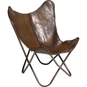 Kare-Design SESSEL Echtleder Braun , Butterfly , Metall, Leder , 80x107x76 cm , 001838361801