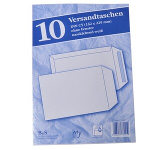 Versandtaschen 10Stk. DIN C5 162x229mm ohne Fenster nassklebend weiß