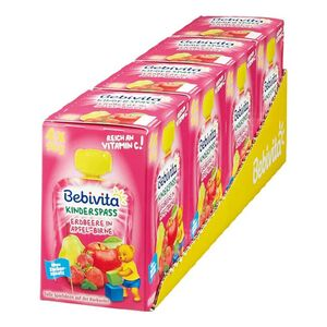 Bebivita Kinderspaß Erdbeere in Apfel-Birne 360 g, 4er Pack