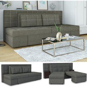 VICCO Schlafsofa mit Bettfunktion 235 x 105 cm Grau Dreisitzer Couch Taschenfederkern Schlafcouch