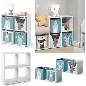 Vicco Kinderregal 4 Fächer inklusive Kinder Faltboxen Bücherregal Aufbewahrungsregal Spielzeug