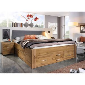 home24 Rauch Pack´s Bett Scala I 160x200 cm Spanplatte Eiche Wotan Dekor