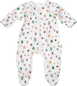 PUSBLU Baby Schlafanzug Weihnachten, Gr. 86/92 in Bio-Baumwolle, weiß, bunt