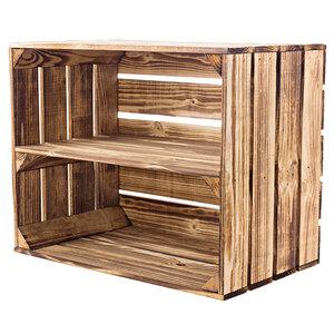Holzkiste geflammt mit Brett, 50x40x30 cm
