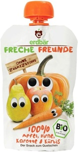 Erdbär Bio Freche Freunde Apfel, Birne, Karotte & Kürbis 100 g