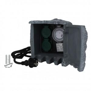 Steckdosen-Verteiler Stein ,  2 Steckdosen, 1 mechanische Zeitschaltuhr, 1,5 m Zuleitung