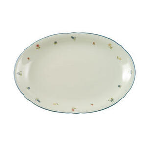 Seltmann Weiden Servierplatte , 30308 , Creme , Keramik , Blume , 31x21 cm , bedruckt , handbemalt , 0031230685