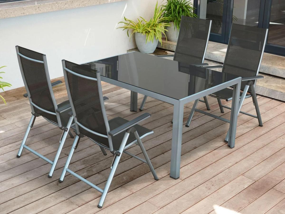 Bild 12 von FLORABEST Gartentisch Aluminium, Grau, Wendetischplatte