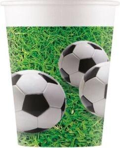 Fussball 8 Pappbecher 200ml Design Football Party grün-kombi