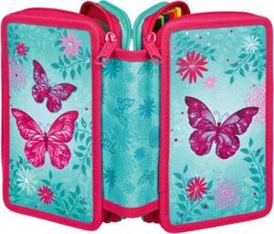 Triple-Federmäppchen Butterfly, 30-tlg. türkis/pink