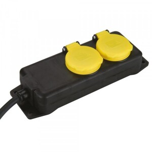 Steckdosenleiste 2-fach 1,4 m ,  IP44, schwarz/gelb