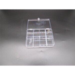 Schmuckkasten, 15 x 11 x 3,5 cm, 8 Fächer, transparent, Kunststoff