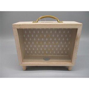 Spardose Koffer, Holz, 21 x 7,3 x 21 cm, verschiedene Farben