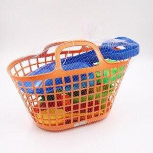 11-teiliger Sandspielzeug-Korb, ca. 39 x 29 x 17 cm, Kunststoff, bunt