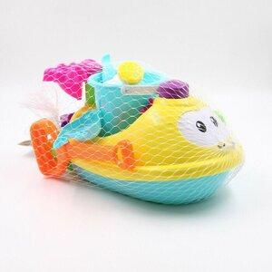 8-teiliges Sandpspielzeug-Set Boot, ca. 38 x 20,5 x 18 cm, Kunststoff, bunt