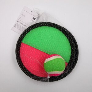 Klettballspiel/Fangspiel/Catchball, ca. Ø 17 cm, pink/grün