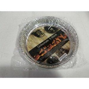 Aluminium-Grillschale, rund, 5er-Pack, zum Kochen und Grillen