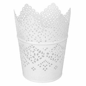 Blumentopf/Zinktopf/Pflanzengefäß, 8,7 x 6,5 x 11,5 cm, weiß, Metall