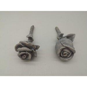 Grabdeko, Rose, Ø ca. 8,4 x 9,6 cm, grau, verschiedene Ausführungen