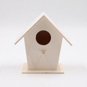 Vogelhäuschen mini, ca. 13 x 8,3 x 13,8 cm, Holz, natur