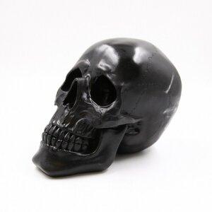 Deko-Figur Totenkopf, ca. 27 x 17 x 19 cm, Kunstharz, schwarz