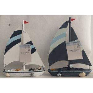 Deko-Objekt, Segelboot, ca. 23,5 x 5 x 30 cm, Holz, verschiedene Farben