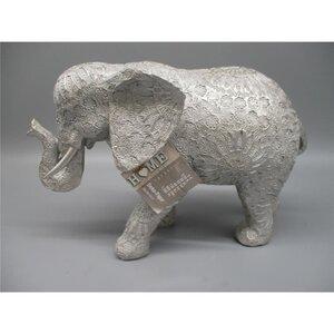 Elefant Ornament, Kunstharz, 28,50 x 11,00 x 18,50 cm, grausilber