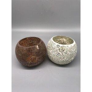 """Teelichthalter """"Mosaik"""", rund, Ø ca. 13 cm, verschiedene Farben"""