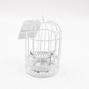 Vogelkäfig-Teelichthalter, Metall, 15 cm, weiß
