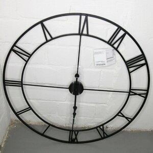 Wanduhr Vintage XXL Retro Küchenuhr Wohnzimmeruhr Design Uhr 80 cm schwarz