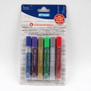 Stylex 6er-Pack Glitzerkleber, farbig sortiert, je Tube 10 g