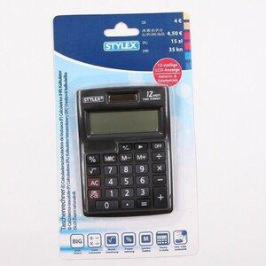 Stylex Alpha Taschenrechner mit LCD-Anzeige Tischrechner, große Tasten, schwarz