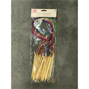18 Bambus-Stricknadeln im Set, ca. 2 - 10 mm, bunt sortiert