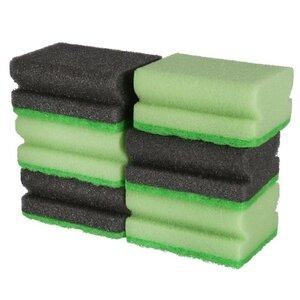 6er-Pack Topfschwämme/Scheuerschwämme, ca. 9,5 x 7 x 4 cm, 100 % Polyester, grün